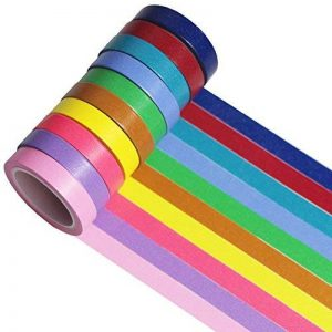 10 coloré décoratif Ruban adhésif Washi Tape Ruban adhésif de masquage Scrapbooking Cadeau DIY Craft (Colorful 10 Rolls) de la marque UOOOM image 0 produit