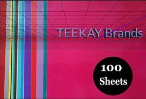 100 - Feuilles de vinyle auto-adhésives permanentes -12 x 12 pouces, feuilles faciles à désherber qui fonctionnent avec Cricut et tous les coupeurs. Couleurs assorties en Glossy, Matt, Metallic, Neon, Gold et Silver de la marque TeekayBrands image 0 produit