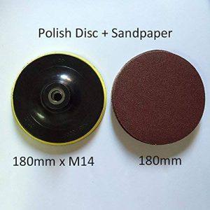 1PC M14x180mm Disques de Polissage + 10pcs 180mm Papier de Verre et Crochet de Disque en Boucle Pour Outils à Outils Rotatifs à Angle de la marque CaiMei Polish Tool image 0 produit