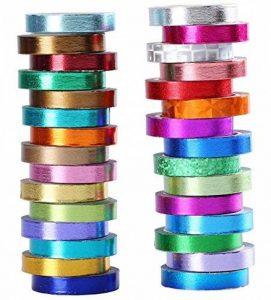 30rouleaux de papier Washi–Multicolore et doré métallique Washi Ruban adhésif de masquage–8mm x 4m ruban de papier japonais pour DIY Artisanat de la marque Renook image 0 produit