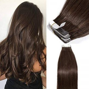 40 Pcs Extension Adhesive Cheveux Naturel Bande Adhesive Extension - Remy Human Hair Tape In Hair Extensions (#4 MARRON CHOCOLAT, 40CM - 100g) de la marque Elailite image 0 produit