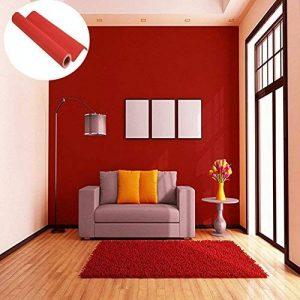 45cmx10M Papier Peint Auto-Adhésif Trompe l'oeil Stickers Autocollant Muraux Décoration Murale pour Chambre Salon Meuble, Rouge de la marque JUNXAVE image 0 produit