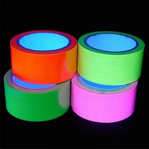 4x Bandes Ruban Adhésif FLUO UV - Vert Orange Rose Jaune - 50 mm x 10 m - Toilé Gaffer Tape - Décoration Lumière Noire de la marque EVENT LIGHTS image 0 produit