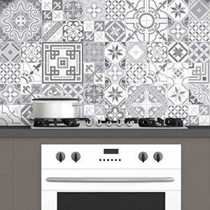 60 Stickers adhésifs carrelages | Sticker Autocollant Carrelage - Mosaïque carrelage mural salle de bain et cuisine | Carrelage adhésif - design vintage nuances de gris - 10 x 10 cm - 60 pièces de la marque Ambiance-Live image 0 produit
