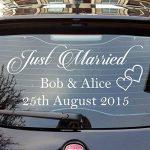 """80 x 40 cm) avec inscription """"Just Married"""" Custom personnalisé en vinyle Motif Écrivez vos noms & Date Sticker voiture de mariage arrière miroir aléatoire en cadeau inclus de la marque AnOL image 3 produit"""