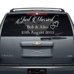 """80 x 40 cm) avec inscription """"Just Married"""" Custom personnalisé en vinyle Motif Écrivez vos noms & Date Sticker voiture de mariage arrière miroir aléatoire en cadeau inclus de la marque AnOL image 4 produit"""