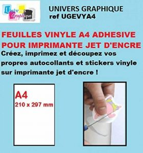 A4 Inkjet (Jet d'encre) pour création d'Autocollants Vinyle.- stickers vInyl Matt micro poreux x 10 Feuilles de la marque UNIVERS GRAPHIQUE image 0 produit