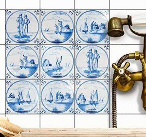 Adhésif mural cuisine et salle de bain | Vinyl Autocollant decoratif pour carrelage | Revêtement pour credence cuisine | Carrelage adhésif - Design Tuile Hollondais - 15x15 cm - 9 pièces de la marque creatisto image 0 produit