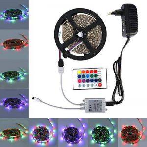 ALED LIGHT 5 M RGB LED Bande de 300 Unités, 60 LED Par Mètre Ruban Lumineux 3528 SMD avec des Lumières Colorées Non-étanche Ruban LED + 24 Clés Télécommande IR + Alimentation 2A, 12V de la marque ALED LIGHT image 0 produit