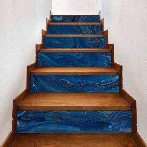 @Ammwzl-Motif De Marbre Bleu Foncé Décoration Salon Escaliers Escaliers Collant Stickers Muraux Anti-Dérapant 100 * 18 Cm * 6 Pièces de la marque @Ammwzl image 0 produit