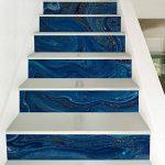 @Ammwzl-Motif De Marbre Bleu Foncé Décoration Salon Escaliers Escaliers Collant Stickers Muraux Anti-Dérapant 100 * 18 Cm * 6 Pièces de la marque @Ammwzl image 2 produit