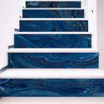 @Ammwzl-Motif De Marbre Bleu Foncé Décoration Salon Escaliers Escaliers Collant Stickers Muraux Anti-Dérapant 100 * 18 Cm * 6 Pièces de la marque @Ammwzl image 4 produit