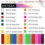 Arteza 14 Feuilles de Vinyle Thermocollant Premium Couleurs Assortis Transfert de Chaleur 25.4 X 30.5 cm - Permanent HTV - Fer sur vinyle (boite de 14 Couleurs) de la marque ARTEZA® image 3 produit