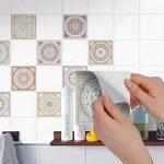 Autocollant muraux pour carreaux de ciment | Revêtement mural pour carrelage salle de bain et credence cuisine | PVC Stickers - Facile à appliquer | Design Mosaïque Afrique - 15x15 cm - 9 pièces de la marque creatisto image 2 produit