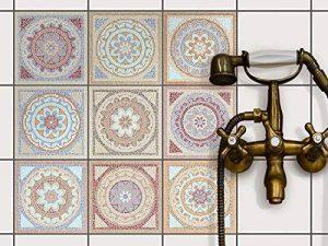 Autocollant muraux pour carreaux de ciment | Revêtement mural pour carrelage salle de bain et credence cuisine | PVC Stickers - Facile à appliquer | Design Mosaïque Afrique - 15x15 cm - 9 pièces de la marque creatisto image 0 produit