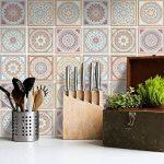 Autocollant muraux pour carreaux de ciment | Revêtement mural pour carrelage salle de bain et credence cuisine | PVC Stickers - Facile à appliquer | Design Mosaïque Afrique - 15x15 cm - 9 pièces de la marque creatisto image 1 produit
