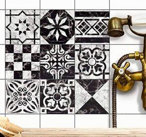 Autocollant Sticker Carrelage | Carreau de ciment adhesif - stickers muraux salle de bain et cuisine | Carrelage autocollant - Design Dessin Marbre - 20x20 cm - 9 pièces de la marque creatisto image 0 produit