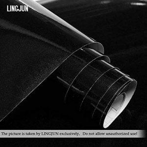 Autocollants Stickers Meubles en PVC pour Couverture de Cuisine Placard Porte Tiroir Garde-robe 5m x 61cm Imperméable Décoration Murale (Noir) de la marque LINGJUN image 0 produit
