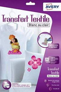 Avery 8 Papiers Transferts T shirt/Textile Blancs ou Clairs - A4 - Jet d'encre (C9405) de la marque Avery image 0 produit
