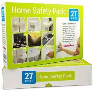 Cheraboo Toddler Home Kit de sécurité–Meilleur protection enfant Lot verrous pour armoire de cuisine, renforts d'angle et anti Pointe TV/meubles Sangles–Large 27pièces bébé Épreuvage Lot. de la marque CHERABOO image 0 produit