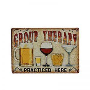 Décoration murale - Plaque en métal vintage pour cafés, restaurant, bars - Bière - «Group Therapy Practiced Here» - Nuolux de la marque NUOLUX image 0 produit