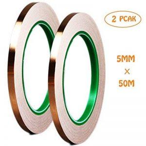Dooppa 5mm x 50m Feuille de cuivre ruban adhésif avec adhésif, Antistatique pour œuvre d'art, vitrail, les réparations électriques, à souder, blindage EMI, mise à la terre (lot de 2) de la marque Dooppa image 0 produit
