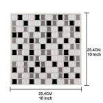 Ecoart 3D Autocollant Mural Imperméable Auto-adhésif en mosaïque pour la salle de bain et la cuisine Noir, gris et blanc 25.4 x 25.4cm Lot de 6 de la marque Ecoart image 3 produit