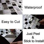 Ecoart 3D Autocollant Mural Imperméable Auto-adhésif en mosaïque pour la salle de bain et la cuisine Noir, gris et blanc 25.4 x 25.4cm Lot de 6 de la marque Ecoart image 4 produit