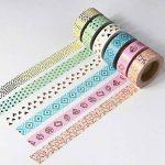 EDGEAM Lot de 6 Multicolore Ruban Adhésif Décoratif Bandes Washi Masking Tape Motifs d'or Bricolage Scrapbooking, chaque rouleau 15mm X 10M (Stil-G1) de la marque EDGEAM image 3 produit