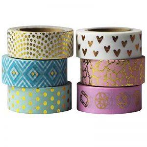 EDGEAM Lot de 6 Multicolore Ruban Adhésif Décoratif Bandes Washi Masking Tape Motifs d'or Bricolage Scrapbooking, chaque rouleau 15mm X 10M (Stil-G1) de la marque EDGEAM image 0 produit