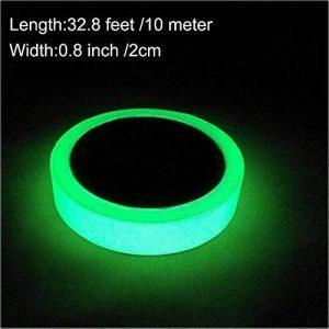 EEFUN Glow in the Dark Tape, Vert Lumineux Ruban Adhésif Autocollant, Ruban Adhésif Phosphorescent: Fluorescente Nuit Autocollant, Amovible, Imperméable à L'eau, Photoluminescent, 10m x 2cm (Vert) de la marque EEFUN image 0 produit