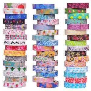 Ensemble de 48 rouleaux de ruban adhésif Washi - 8mm de large, design floral coloré, ruban masque décoratif pour le bricolage, scrapbooking, emballage cadeau de la marque Aapozz image 0 produit