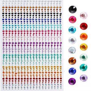 Faburo 900 Pièces Pierres Précieuses Adhésif Strass Cristal Autocollants, 3mm, 4mm, 5mm, Acrylique Coloré Strass Autocollant Pour l'artisanat de la marque Faburo image 0 produit