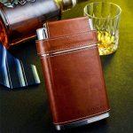 Flasque Gennissy 304en acier inoxydable 18/8236,5 ml –Cuir marron avec 3tasses et 1 entonnoir 100 % étanches, Acier inoxydable, Flask With Funnel, 8 OZ de la marque Shenglin image 4 produit