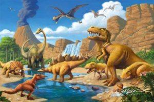 GREAT ART Affiche Dinosaure murale chambres enfants Décoration murs comiquel aventure Dino mondiale style jungle cascade Dinosaurus | mur deco Poster mural Image by (140 x 100 cm) de la marque GREAT ART image 0 produit
