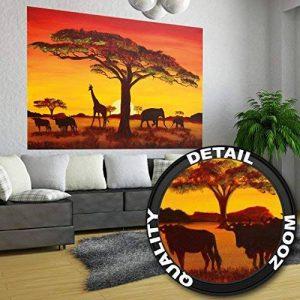 GREAT ART Papier peint photo Coucher du Soleil en Afrique - African Sunset - image murale de Safari en Afrique - décoration murale XXL 140 cm x 100 cm de la marque GREAT ART image 0 produit