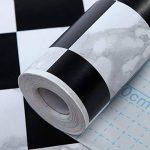 HANMERO Papier Peint Adhésif Autocollant-2m*0.45m-Vintage Trompe l'oeil Motif de Carreau Noir et Blanc Vinyle PVC pour Cuisine Meuble Placard Table Effet 3D Sticker Mural, Noir et Blanc de la marque HANMERO image 4 produit