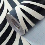 HANMERO Papier Peint Adhésif Autocollant-2m*0.45m-Vintage Trompe l'oeil Motif de Feuille Vinyle PVC pour Cuisine Meuble Placard Table Effet 3D Sticker Mural, Noir et Blanc de la marque HANMERO image 3 produit