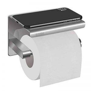 HBlife Porte-Papier Toilette Mural avec Etagère de Porte Rouleau Papier Toilette Mural en Acier Inox SUS304 Brossé Pour Salle de Bain WC avec Plateforme de rangement/Perçage ou 3M Auto-adhésif de la marque HBLIFE image 0 produit