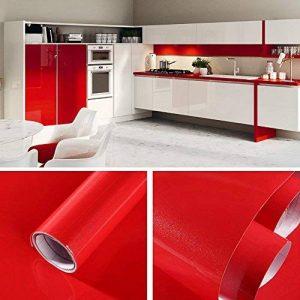 Humtool 5×0,61M Rouge Papier Peint Autocollant Rouleau Adhésif Sticker Mural Etanche pour Armoire Cuisine Meuble Electroménager Carreaux Mur Verre en PVC de la marque Humtool image 0 produit