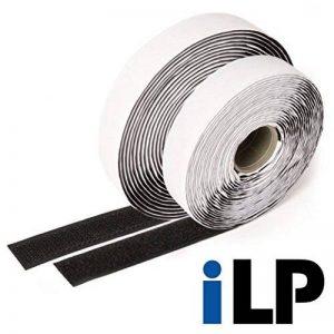 iLP bande auto-agrippante noire autoadhésive - 5 mètres de long env. 20 mm de large - fixation montage sûr ultra solide pour bricolage loisirs créatifs Do it Yourself - 1 rouleau de bande textile velours et 1 rouleau de bande textile à crochets de la marq image 0 produit