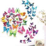 ivencase 96Pcs Stickers Muraux Papillons (Tailles Différentes) pour décoration de Maison, de Pièce, Réfrigérateur et Meuble, 3D Papillons Papiers Décoration, Autocollants de Papillons / Artisanat / Bricolage avec Aimant et Mastic, Amovible Réutilisable - image 1 produit