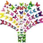 ivencase 96Pcs Stickers Muraux Papillons (Tailles Différentes) pour décoration de Maison, de Pièce, Réfrigérateur et Meuble, 3D Papillons Papiers Décoration, Autocollants de Papillons / Artisanat / Bricolage avec Aimant et Mastic, Amovible Réutilisable - image 2 produit