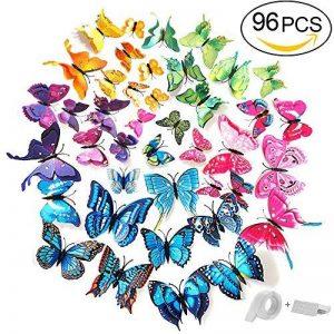 ivencase 96Pcs Stickers Muraux Papillons (Tailles Différentes) pour décoration de Maison, de Pièce, Réfrigérateur et Meuble, 3D Papillons Papiers Décoration, Autocollants de Papillons / Artisanat / Bricolage avec Aimant et Mastic, Amovible Réutilisable - image 0 produit