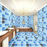JINZAI Stéréo pvc mur papier peint auto-adhésif adhésif mural cuisine salle de bain Chambre à coucher, 60CM*3M à motifs bleu stéréo, très grand de la marque JINZAI image 1 produit