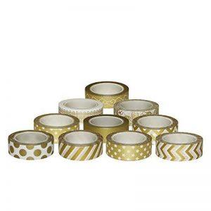 Kbnian 10 Rouleaux Washi Tape Masking Tape, Ruban Adhésif en Dorée Papier Décoratif pour Scrapbooking, Cadeaux, Noël, Fête, Mariage (15mm x 10M) de la marque Kbnian image 0 produit