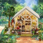 Keepwin DIY Jouet, Dollhouse Miniature BRICOLAGE Maison Kit En Bois Fait Main Artisanat Cadeau Soleil Maison Verte Avec Couverture de la marque Keepwin image 2 produit