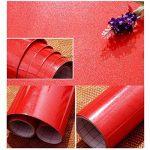 KINLO 5M Papier Peint Adhésif Rouleaux Reconditionné pour Armoires de Cuisine en PVC Self Adhesive Autocollant Meubles Porte Mur Placards Stickers Mural - Rouge de la marque KINLO image 2 produit