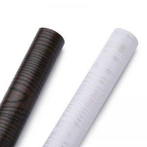 KINLO Papier Peint Autocollant Matte Sticker Cuisine Rouleau 0,61 x 5 m Adhésif Meuble pour Portes Frigo Table Mural Décoratif - Brun Rayures de la marque KINLO image 0 produit