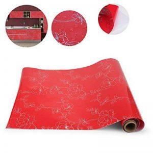 KINLO Stickers Meubles Autocollants Décorations Films Motifs Papier Peint Auto-adhésif 1 Rouleau 5 x 0,61 m en PVC pour Armoires Placards Frigos de Cuisine - Rouge de la marque KINLO image 0 produit